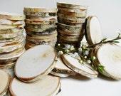 Wood Slices, 3inch Tree Slices, Birch Tree Slices, Birch Wood, Rustic Wood Slices, Wedding Decor, DIY,(B73)  Set of 25