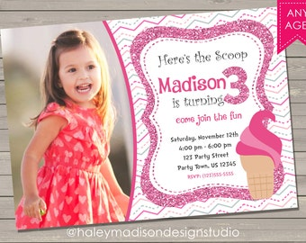 Ice Cream Birthday Invitation, Pink Glitter, party invitation DIGITAL FILE