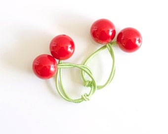 CHERRY BOBBLES. Hair ties. Elastic hair ties. Funky. Red cherries. Retro style hair bobbles.