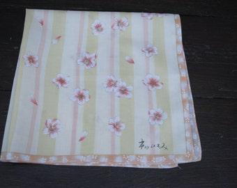 Vintage cotton white pink yellow striped sakura blossoms print  handkerchief small cotton scarf