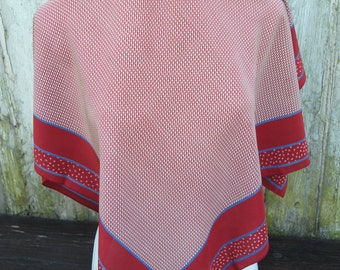 Wonderful classic burgundy red  small squares pattern vintage crepe silk scarf