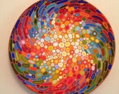Ceramic wall art, abstract decorative plate, colourful wall decor, large ceramic plate, Armenian pottery