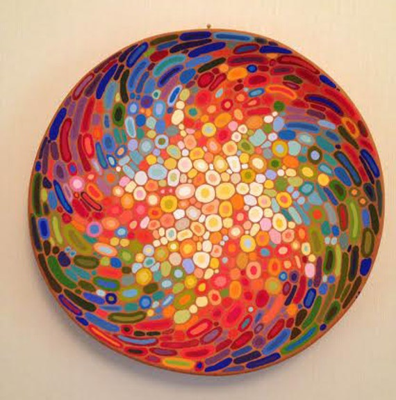 Small Decorative Plates Sets: Ceramic Wall Art Abstract Decorative Plate Colourful Wall
