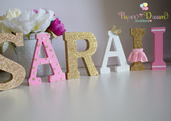 princess name wood letters princess personalized name birthday party decor gold wood letters