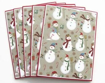 Snowman Christmas Card Set, Snowman Stationery, Christmas Note Cards, Set of 5, Snowman Cards