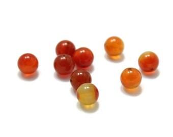 Carnelian Polished Round Beads 8mm 8pcs