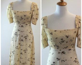 Vintage 1970's Bohemian Boho Summer / fall  Maxi Dress with Birds