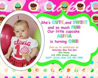 Polka dot Cupcake Invitation