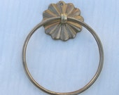 Antique Solid Brass Wall Hanging Towel Ring, Flower Screws Flush to Wall, Marked Korea, Yacht, Kitchen, Bath, Pool Side Etc