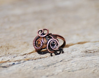 wire wrapped ring / natural copper / moonstone / handmade jewelry / size 6