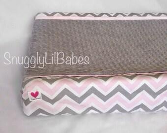 Grey, pink chevron changing pad cover, baby pink trim grey minky dot