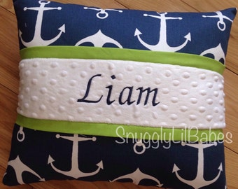 Navy anchor, lime pillow, lime green trim and white minky dot embroidered pillow