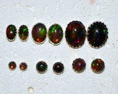 Cabochon Natural Ethiopian Black Opal Stud Earrings In Sterling Silver - Choose a size!