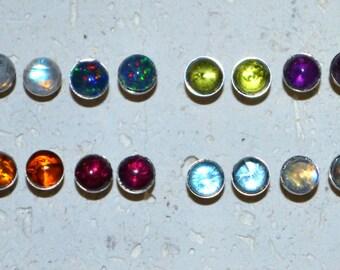 Titanium Stud 5 mm Stone Earrings - Choose a stone!   Dainty no nickel post earrings in sterling and genuine gemstones.