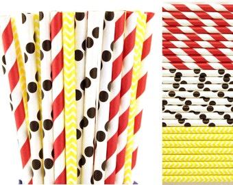 Mickey or Minnie Mouse Paper Straw Mix-Red Striped Paper Straws-Black Polka Dot Paper Straw-Yellow Chevron Paper Straws-Birthday Party Straw