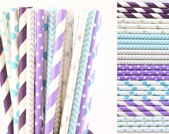 Frozen Inspired Paper Straw Mix-Purple-Lavender-Blue-Teal-Silver-Grey-Stripe-Dot-Chevron-Star-Party Straw-Mason Jar Straws-Birthday Straws