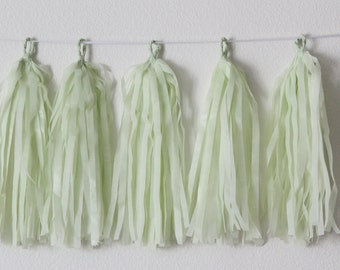 Tissue Paper Tassel Garland DIY KIT- Mint Green Party Decor-Wedding Garland-Pastel Party Tassels-Bridal Shower Tassel-Mint Green Decorations
