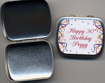 6  70th 75th 80th 90th party favor mint tins unfilled with personalized stickers