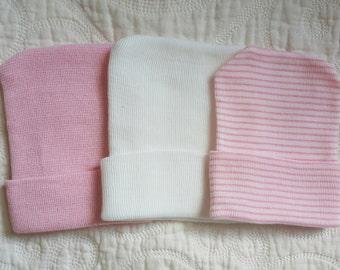 Newborn Hospital Hat, Hospital Newborn Beanie, Newborn hat, Newborn Girl hat.  Design your Own!