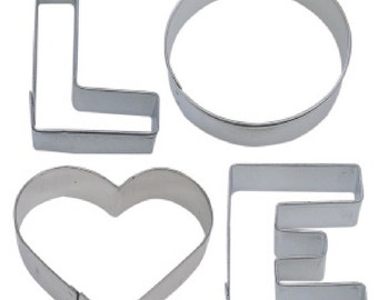4 Piece LOVE word Cookie Cutter Set New!
