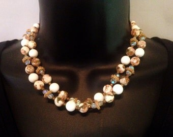 Vintage LAGUNA Brown and White Bead Necklace and Earrings - Laguna Bead and Crystal Jewelry  - Free Shipping