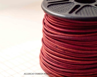 1.5mm Natural Dark Red Leather Cord 2 Metres (A364)