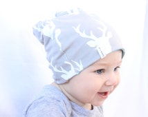Baby Beanie, Toddler Beanie, Slouch Beanie, Baby Hat, Soft Baby Beanie, Two Different Styles - Grey Stag