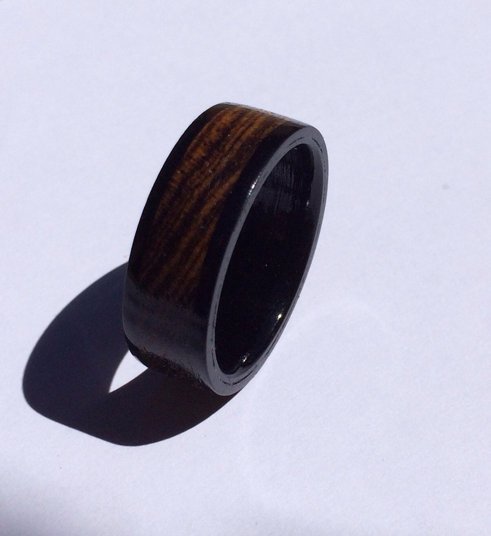 mens wedding band unique mens ring wood ring ebony ring. Black Bedroom Furniture Sets. Home Design Ideas