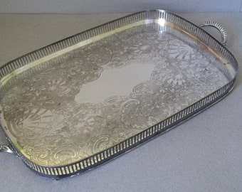 Vintage English Silver Gallery Tray - Silver on Copper Gallery Tray