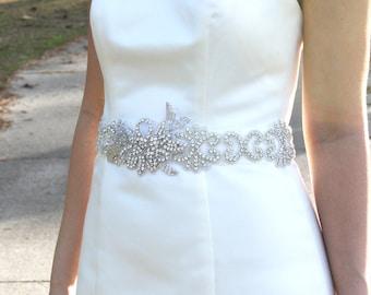 CAMILLA - Vintage Inspired Wedding Crystal Rhinestone Sash, Bridal Beaded Belt, Bridal Rhinestone Sash