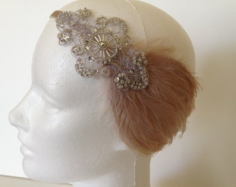 1920s Flapper headband, Feather headpiece, Flapper Headpiece, Silver Beaded Headband, Art Deco Headpiece