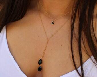 lariat Necklace,Y necklace, drop lariat, black Y lariat, swarovski lariat, drop Y necklace, Gold Fillel  lariat, Open lariat Necklace