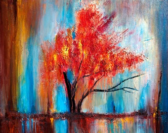 Abstract Tree Multicoloured Painting Rich textured Amazing Modern Contemporary art work Colourful bright