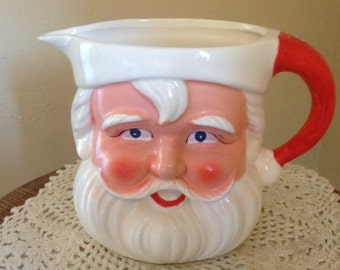 Vintage Santa Claus Pitcher for Eggnog, Hot Chocolate. Great Condition-Hand Painted
