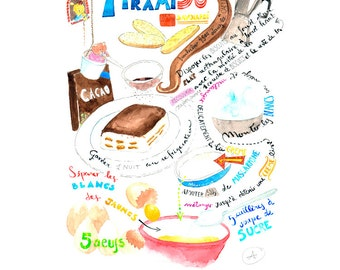 """Illustrated recipe of the  """"Tiramisù"""" Print of my original watercolor illustration decoration for children and kitchen"""