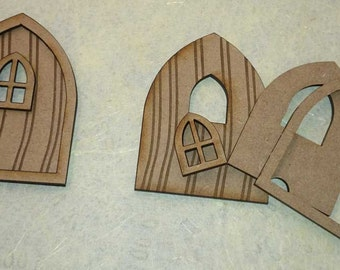 Fairy Door with window. Laser cut from MDF. Wooden craft blank with template for window. Ready to decorate