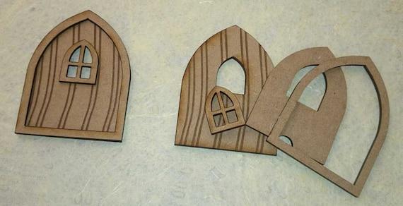 Fairy door with window laser cut from mdf wooden craft blank for Make fairy door craft