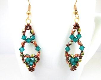 Autumn emerald and bronze swarovski elements earrings, fall jewelry, emerald swarovski, elegant earrings, ER033