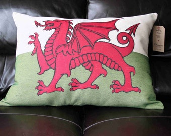 Large Welsh Flag Cushion
