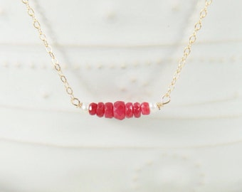 14K Gold Filled Minimalist Beaded Bar Necklace / Pink Ruby Faceted Rondelles Tiny Freshwater Pearl / Thin Chain / GF Fill / Gemstone