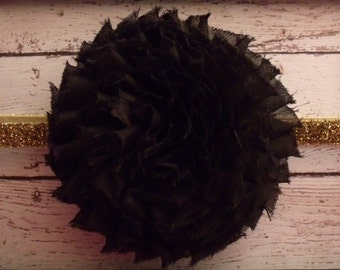 NEW Large Black Fray Shabby Flower on Gold OR Silver Headband ... Newborn, Baby, Girls Photo Prop Bow