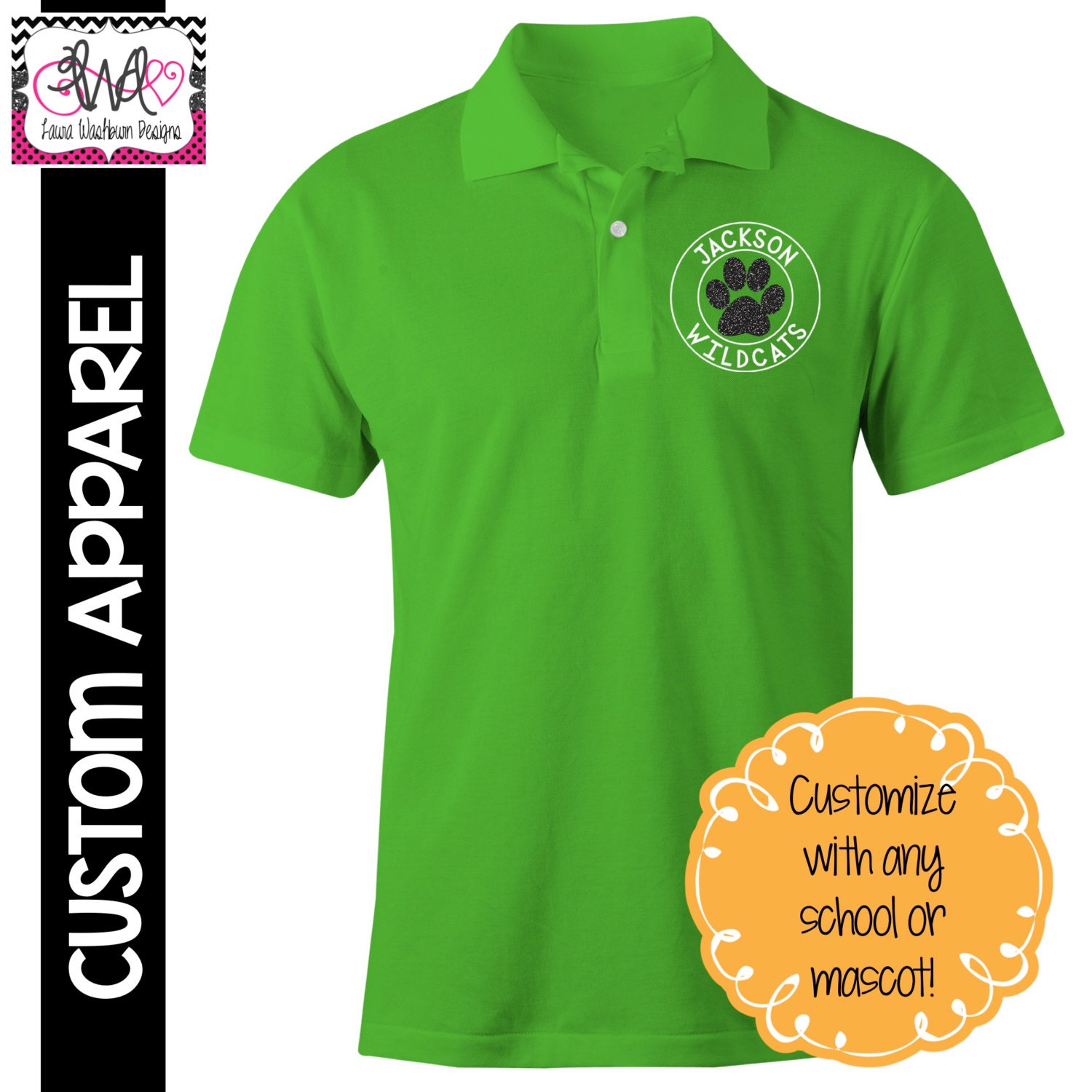 Custom Apparel Custom School Spirit Polo Sports Shirt With