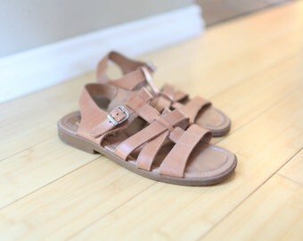 vintage strappy tan leather strap sandals womens 9 1/2
