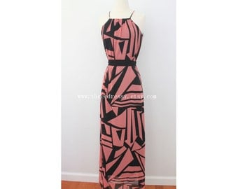 Coral Maxi Dress with Aztec Pattern