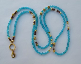 Light Blue Brown and Gold Lanyard. Handmade Beaded ID Badge Holder. Necklace ID Holder. Glass beads. Clear Crystal and Gold metal beads.
