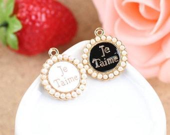5pcs of antique gold JeTaime badge charm pendants 24x20mm