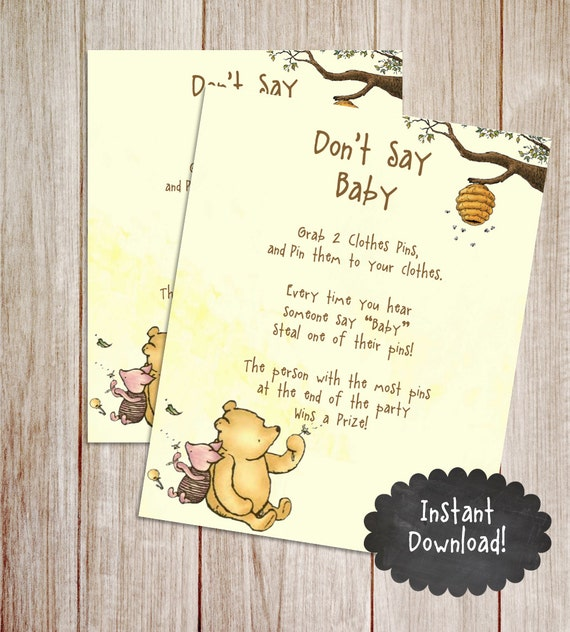 classic winnie the pooh baby shower don 39 t say baby baby shower game