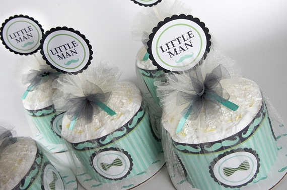 "Five ""Little Man"" Mini Diaper Cakes. Mustache and Bow Tie theme. Mint, Charcoal Gray and Lime. Baby Shower Centerpieces."