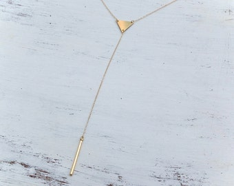 lariat necklace,y necklace,gold lariat necklace,y drop necklace,long necklace,modern jewelry,y necklace gold,geometric necklace, A119 ,A&T