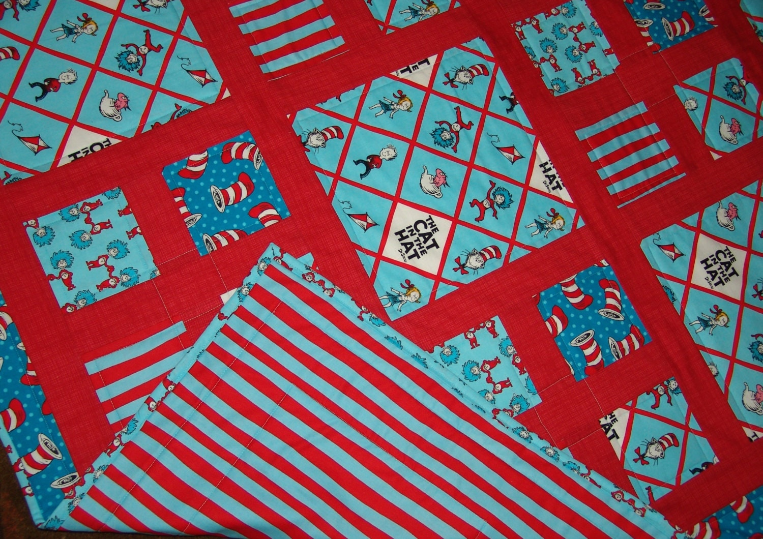 Cat in the hat by dr seuss themed fabric baby or lap quilt for Baby themed fabric